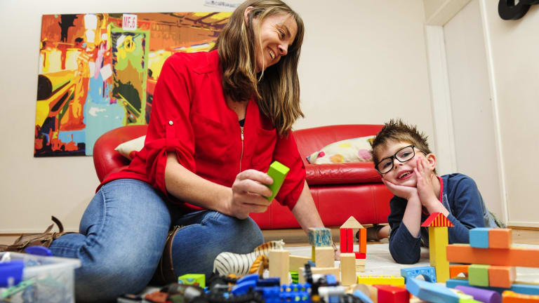 Aspire Early Intervention project manager Laurie Fraser with Dylan Ryan who has autism.