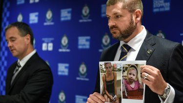 NSW and SA investigators show a photo of Karlie Jade Pearce-Steven and her daughter Khandalyce Kiara Pearce.