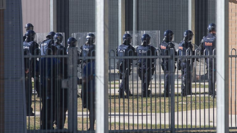 Police at Malmsbury youth detention centre during the riot.
