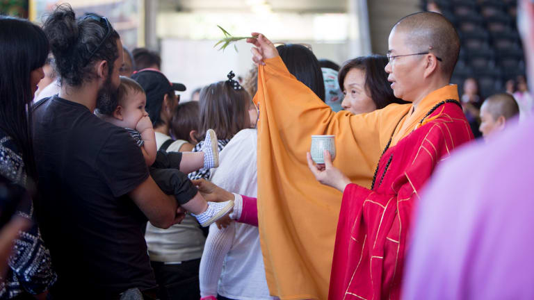 Babies were blessed at the Buddha Birth Day Festival.