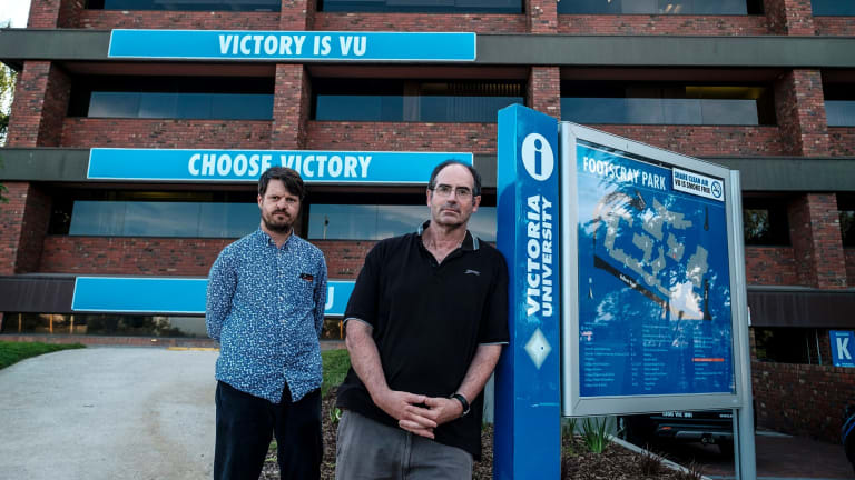 Victoria University academics Dr Paul Adams and Dr Tom Clark are upset about a plan that will lead to up to 115 job losses at Victoria University.