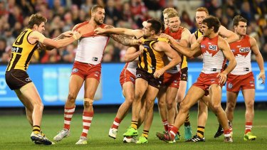 Angry pills: Buddy Franklin was a bit off the boil against his former club.