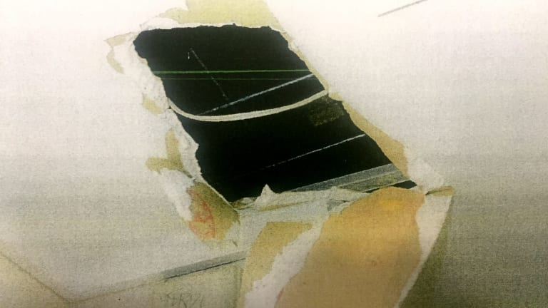 Damaged caused to the ceiling of the Youth Justice Centre by rioters in March.