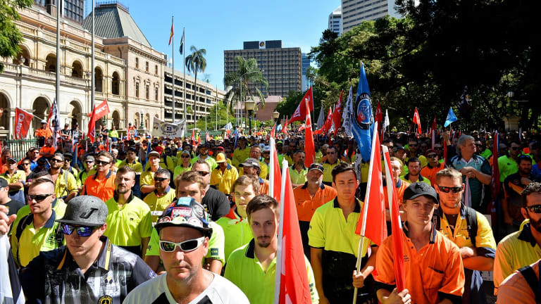 Workers and Union members protest for workers rights and the treatment of victims of Black Lung disease.