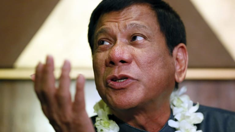 Davao City mayor Rodrigo Duterte talks to the media in Manila.