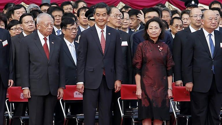 Hong Kong chief executive CY Leung, centre.