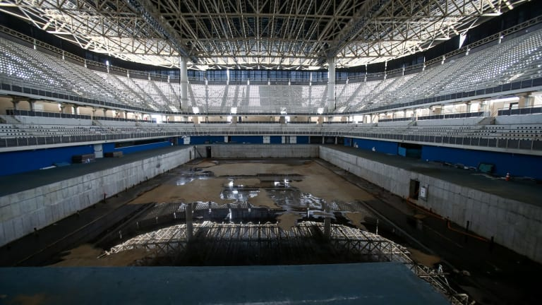 Inside the Olympic Aquatics stadium, designed to be dismantled and the materials reused in new facilities.