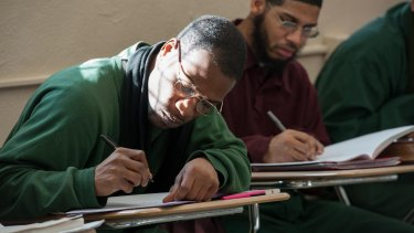Bard Prison Initiative students hard at work in class.