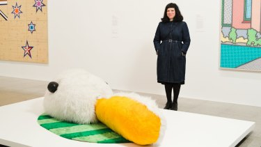 Kathy Temin with her 1991 synthetic fur sculpture The Duck-Rabbit Problem.
