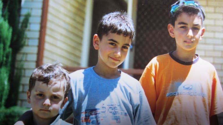 Sasoon Simonian (right) with his brothers Sevak (centre) and Areen in 2003.