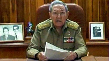 A screenshot from the Cuban TV showing President Raul Castro addressing the country about the diplomatic breakthrough brokered by Pope Francis.