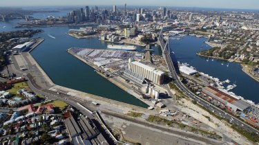 Ripe for redevelopment: White Bay (left)  and Blackwattle Bay.