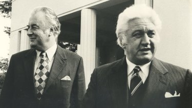 Gough Whitlam (left) and governor-general Sir John Kerr after a meeting of the Executive Council in July 1974.