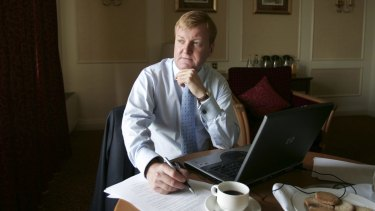 Charles Kennedy prepares his conference speech at a hotel in Blackpool in 2005.