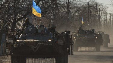 Ukraine's armoured personnel carriers en route to a front-line position east of  Mariupol in March.