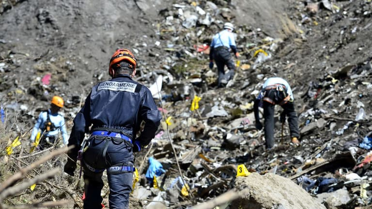 French emergency services at the crash site of the Germanwings jet in Seyne-les-Alpes in March  last year.