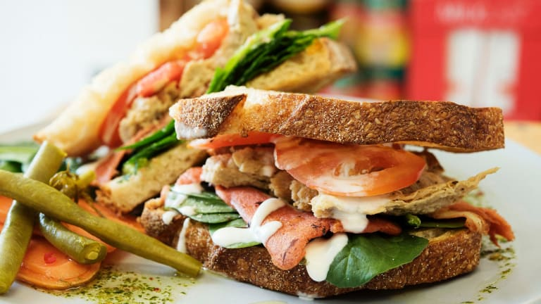 The vegan 'Chick n' Bacun' toastie at Maker Cafe is a must-try.