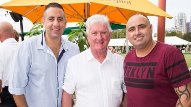 Launch of his farewell season: Ray Warren on Friday with Channel 9 stablemates Rob Shehadie and Matt Ryan-Garnsey from Here Come the Habibs.