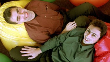 Google's co-founders, Larry Page, left, and Sergey Brin, at Google's headquarters in 2000.