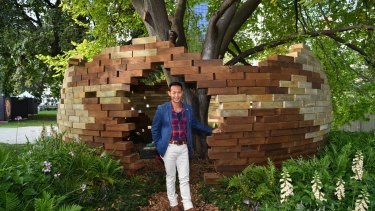 New Zealand designer Bayley LuuTomes with his display Under the Golden Elm.