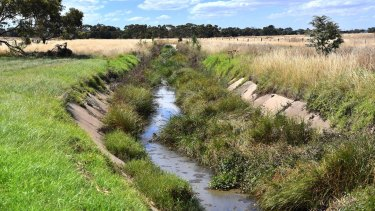 The waterway that runs through the site in Werribee where radioactive cow carcasses are buried.