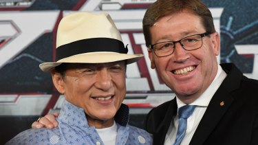 Jackie Chan, pictured with Arts Minister Troy Grant, at the announcement in July that <i>Bleeding Steel</i> would be filmed in Australia, the first film announced under the NSW government's $20 million Made in NSW fund.