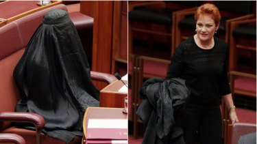 One Nation's Pauline Hanson was condemned by Attorney-General George Brandis and others when she wore a burqa into the Senate.