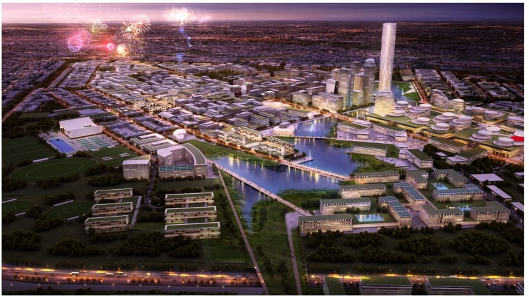 An imagined aerial view of the precinct.