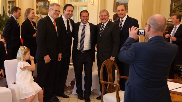 Scott Morrison, Steve Ciobo, Josh Frydenberg, Ian Macfarlane and Peter Dutton pose for a picture prior to the ceremony.