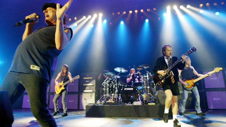 On stage: Brian Johnson, Malcolm Young, Phil Rudd, Angus Young and Cliff Williams perform in Munich in 2003.