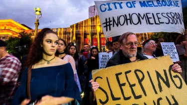 A protest against plans to ban camping in Melbourne's CBD sprung up outside the State Library during White Night.