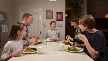 From left, Sophie, Jason, Ben, Suzie and Cam eat plenty of vegetables with dinner.