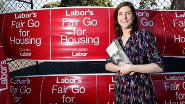 The Labor campaign spruiked candidate Clare Burns' status as a renter.