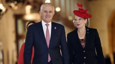 Prime Minister Malcolm Turnbull and his wife Lucy Turnbull arrive for the Commonwealth Heads of Government Meeting in Malta before flying on to the Paris climate summit.