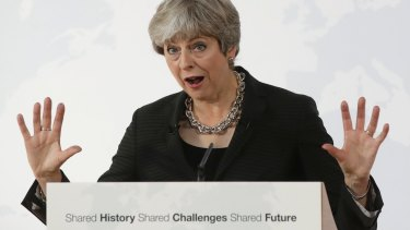 British Prime Minister Theresa May delivers her speech in Florence, Italy, on Friday.