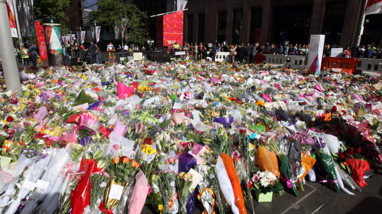 The memorial of flowers in Martin Place following the Sydney siege.