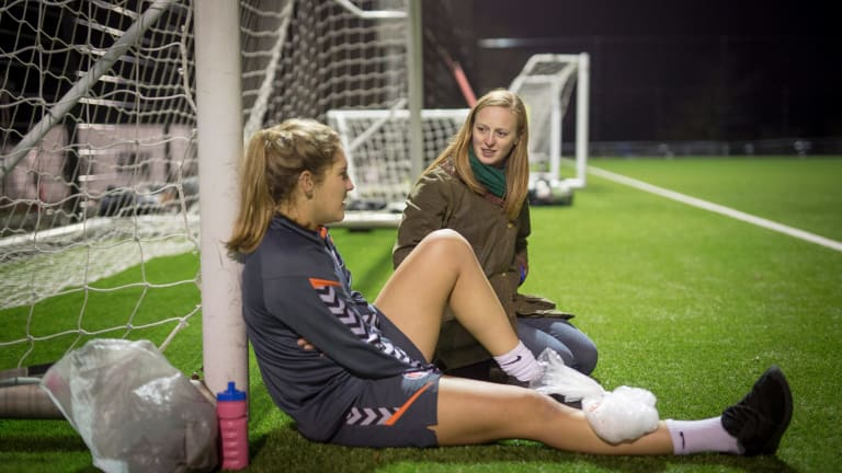 Listening is as much about motivation, disposition, place and time as it is about skill. Kathryn Sales, right, the chaplain of Charlton Athletic Women Football Club, speaks to player Chloe Burton-Wilde during a training session in London.