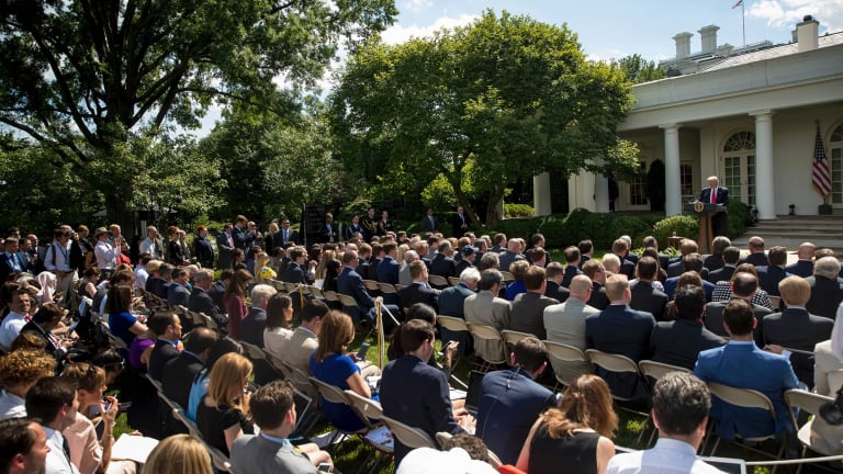 Trump chose a carnival atmosphere for his announcement in the Rose Garden of the White House.