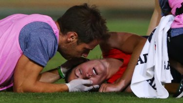 Not only was Meg Downie knocked out, she also injured her hamstring.