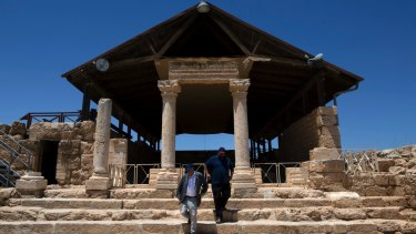Yehuda Shaul and Colm Toibin visit the archaeological park near the occupied West Bank village of Susiya.