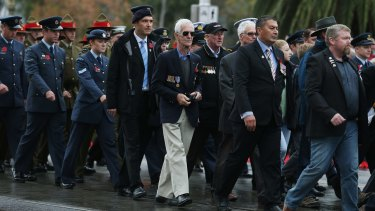 The Anzac Day parade on St Kilda Road, Melbourne, on April 25, 2015.