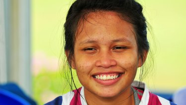 """Herlina Bangun says: """"In rugby, you use your legs, your hands, your mind and your eyes. You have to focus""""."""