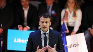 Emmanuel Macron, French presidential candidate, speaks during a meeting with French expatriates in London on Tuesday.