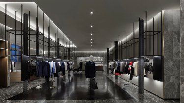 Masons' new store, by Cox Architecture, has a predominantly grey palette finished with luxury touches.
