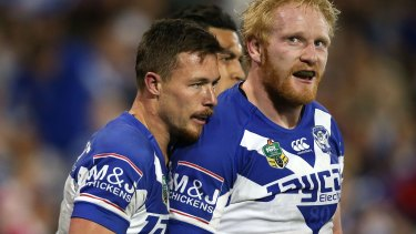 Making every post a winner: Damien Cook, left, has fitted in well with James Graham and the rest of the Bulldogs.