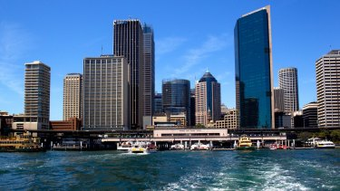Circular Quay with the Cahill Expressway as seen from a Sydney ferry.
