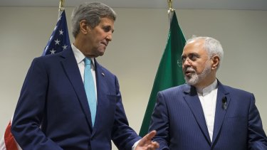 US Secretary of State John Kerry meets with Iranian Foreign Minister Mohammad Javad Zarif at the UN headquarters in September last year.