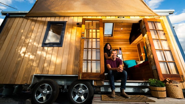 Stuart Dakin and Leah Stephens in their tiny house in the Yarra Valley.