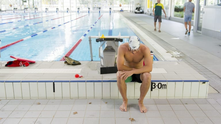 Ben Treffers training at the AIS in an attempt to secure a spot on the Australian team for the 100m Backstroke event.