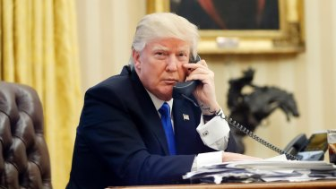 Donald Trump speaking to Malcolm Turnbull in the Oval Office of the White House.
